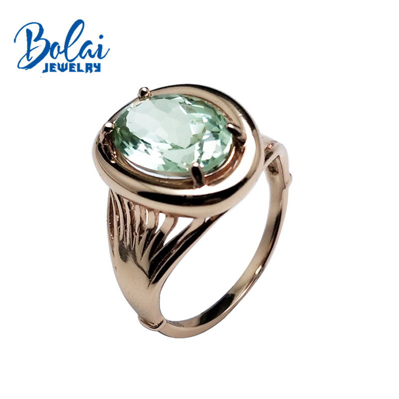 Bolaijewelry Natural green amethyst elegant ring 925 sterling rose silver good workmanship jewelry for women party