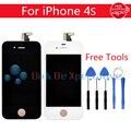 Display lcd + touch screen digitador assembléia para iphone 4 4s branco/preto + ferramentas frete grátis
