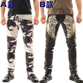 Rock clothing DS Slim punk pants nightclubs DJ performance costumes male singer alternative camouflage leather trousers
