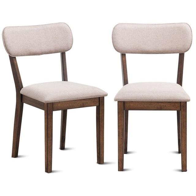 Juego de roble alta calidad 2 tela sin brazo tapizado sillas laterales  comedor elegante Superior lino superficie silla blanca HW60157