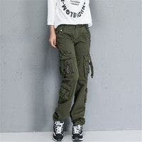 Women Cargo Pants High Quality Fashion Multi Pockets Cotton Pants Woman Military Cargo Pants Plus Size A1137