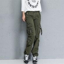 Женщины Брюки-Карго Высокое Качество Мода на Нескольких Карманы Хлопок Брюки Женщина Военные Брюки-Карго Плюс Размер A1137