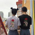Korean Roses Embroidery Women Men T shirt Casual Loose Harajuku T-shirt Fashion Short Sleeve O-neck Summer Couple T-shirts 41062
