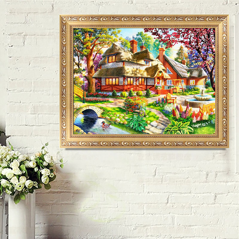 Oil painting hut 5d diamond embroidery diy craft cross for Mosaic home decor