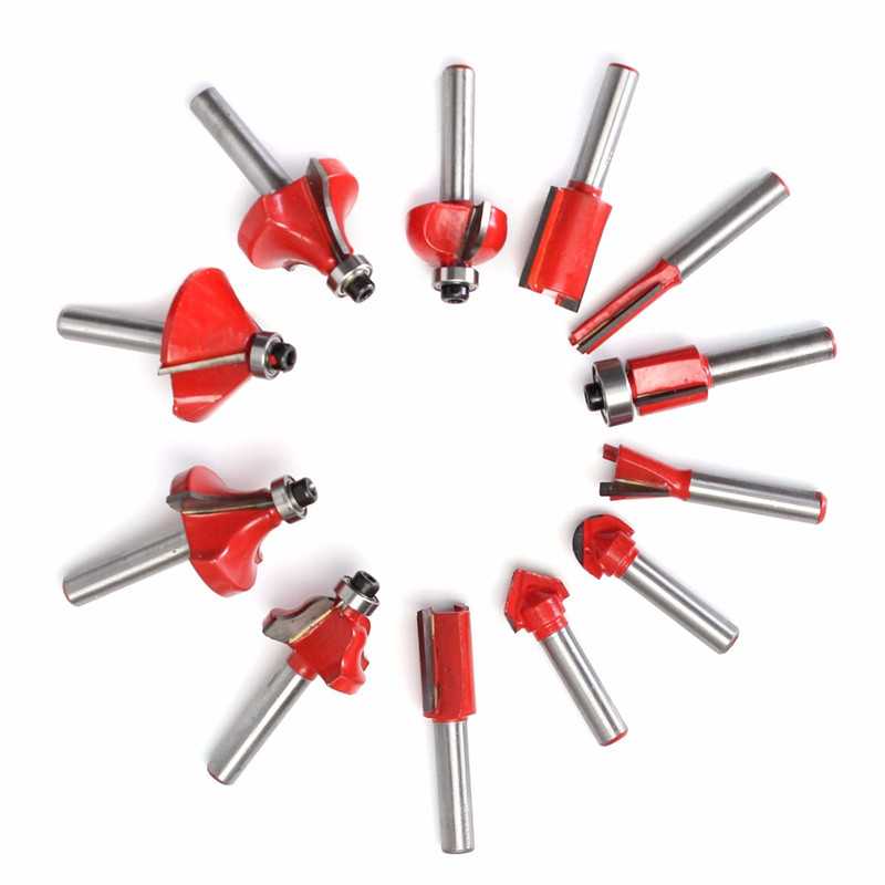 12Pcs 1/4 Inch 6.35MM Professional Drill Bits Router Bit Cutter Set Shank Tungsten Carbide With Wooden Case For Woodworking DIY 3pcs 1 2 shank router bit set in wooden case woodworking drill tool door plank router bits set wood woodworking cutter
