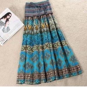 Image 5 - Женская длинная юбка с цветочным принтом MWSFH, летняя юбка с эластичным поясом в богемном стиле, одежда для мужчин