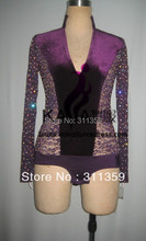 Velvet Fabric Shining Stones Competition Dance Man Latin Shirt,Boys Latin Dance Men Dress,Latin  Dance Adult Dress,KAKA-M046