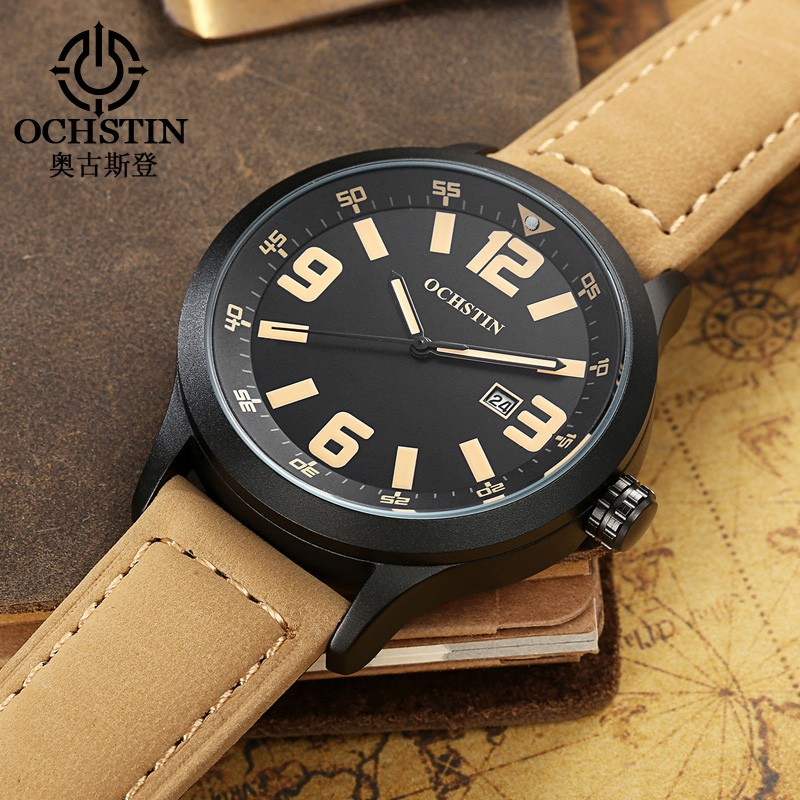 OCHSTIN Mode Casual Brand Watch Män Lyx Sport Quartz Watch Man Watch Läder Vattentät Relogio Masculino 2018 Clock