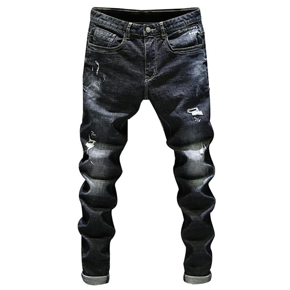 78a306d731d AudWhale Для мужчин стрейч черные джинсы прямые Для мужчин s рваные джинсы-скинни  середины талии
