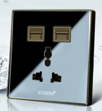 Double USB Outlet Power Wall Socket Universal Plug Switch Free Shipping