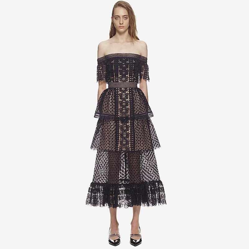 2018 New Runway Women Tunic Self Portrait Dress Slash Neck Off the shoulder  Black Frill Cake 2c717f5b5129