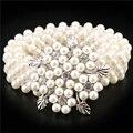 Nueva Llegada de Accesorios de Moda Elegante Hebilla De Plata Incrustación Rhinestone Flor de La Perla Elástico Cinturones Mujer Correa de La Pretina