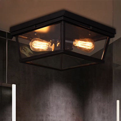 American Style Study Retro Ceiling Lights Industrial Balcony Iron Personality Lamps Creative Porch Ceiling Lamp retro matte black iron ceiling light american industrial iron lights