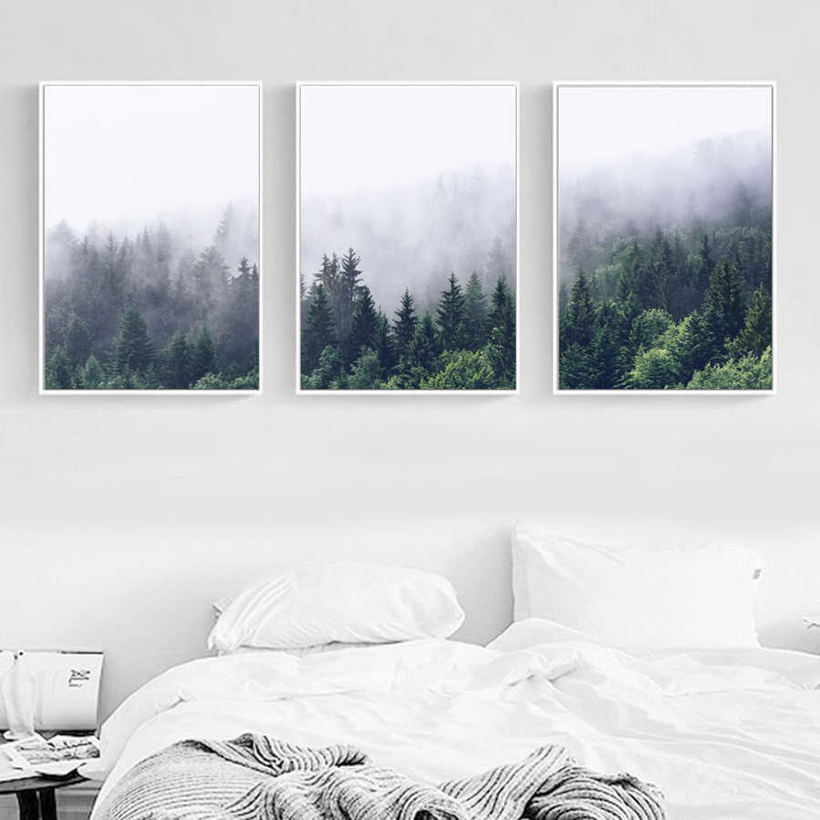 HD Nordic Forest Landscape Wall Art Decoration Canvas Poster Print Canvas Painting Decor Picture for Living Room No Frame