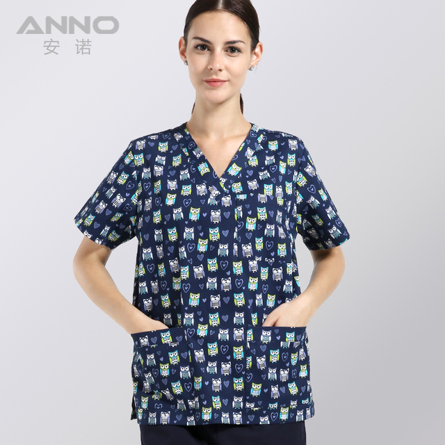 nursing uniforms printed medical clothings for Coloured  LOVINGLY OWL fabric with comfortable medical uniform in scrubs set