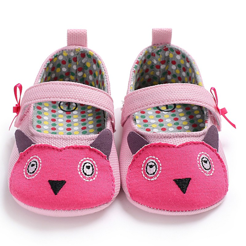0-18 Spring Autumn Bow-knot Baby Girl Shoes Cute Toddler Infant Cartoon Print Princess Anti-slip First Walkers