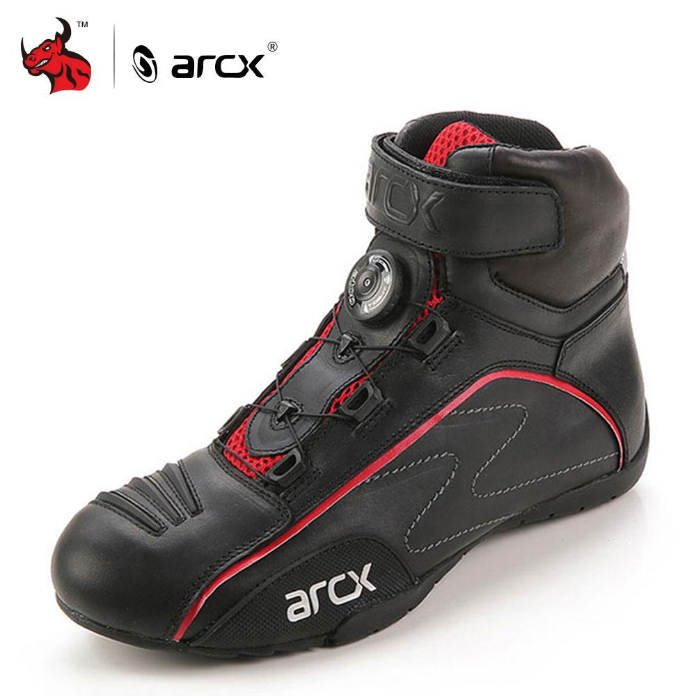 ARCX Moto bottes hommes en cuir Moto bottes rue Moto Cruiser Touring Biker Moto bottes d'équitation avec bouton de réglage lacets