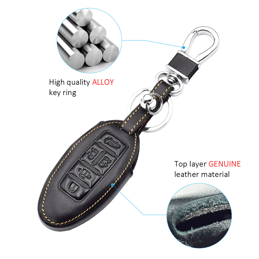 Genuine Leather Car Key Case Cover For Nissan Quest 5 Key Buttons Car Key Cover Leather With Car Style Key Chain in Key Case for Car from Automobiles Motorcycles