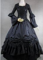 Can Be Custom 2015 Retro Black Long Sleeves Cotton 18th Century Lace Renaissance Gothic Lolita Dress