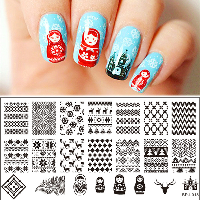 Russian Doll Nail Art Stamp Template BORN PRETTY Sweater Deer ...