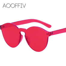 AOOFFIV Cat Eye Sunglasses Women Brand Designer Transparent Plastic Sun Glasses HD One Piece Lenses Eyewear Candy Colors Shades