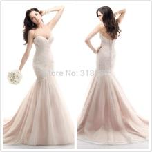 New Design vintage wedding dresses Mermaid Wedding Dresses 2015 Tulle Lace dress appliques bridal gown VESTIDO DE NOIVA