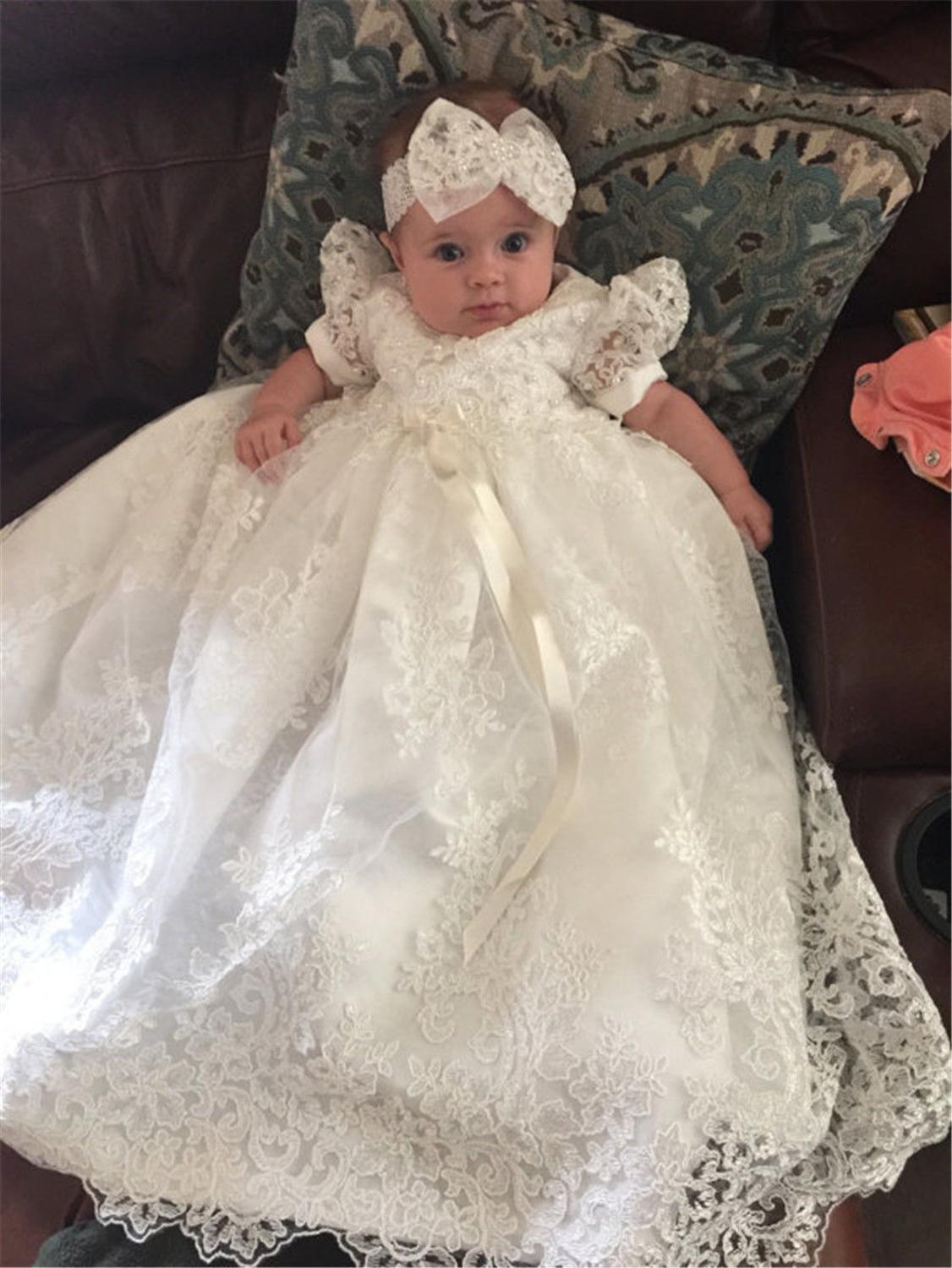 Vintage Cute Kids Lace Christening Dress For Baby Half Sleeve Baptism Gown First Communion Dresses With Headflower