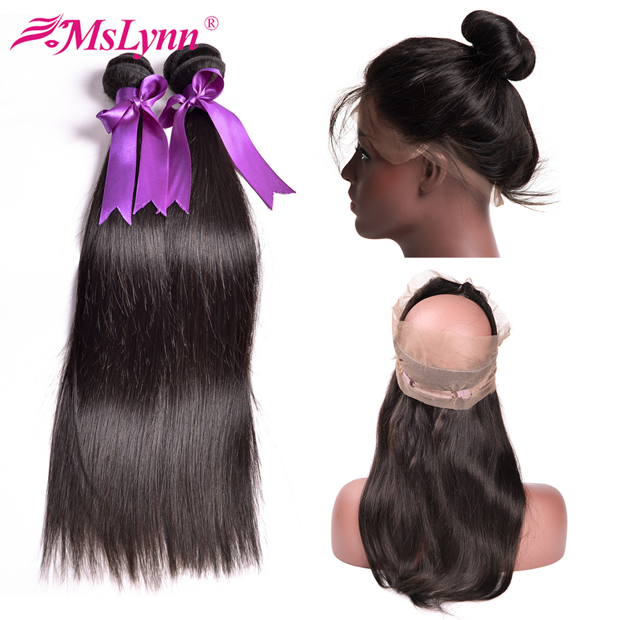 Pre Plucked 360 Frontal With Bundles Brazilian Straight Hair No Tangle Human Hair 2 Bundles With Closure Mslynn Hair Non Remy
