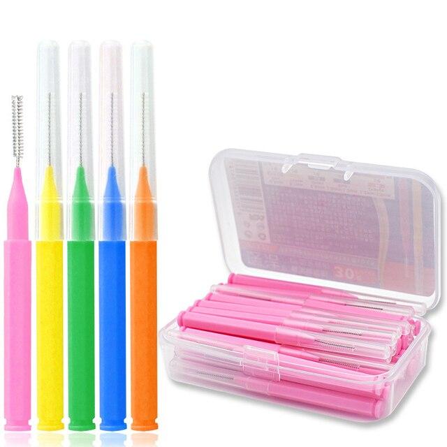 30 unids/caja Interdental Slim cepillos Dentales palillo de dientes hilo Dental cabeza suave Oral higiene Dental cepillo de Cuidado Oral cepillo de dientes