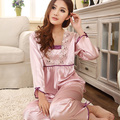 Women Silk Sleepwear Lingerie Lace Long-sleeved Pants Suit Pajamas Nightdress
