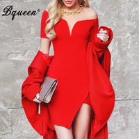 Bqueen 2017 Women Summer Runway Party Bandage Dress Short Split Sleeve Slash Neck Club Dance Ball