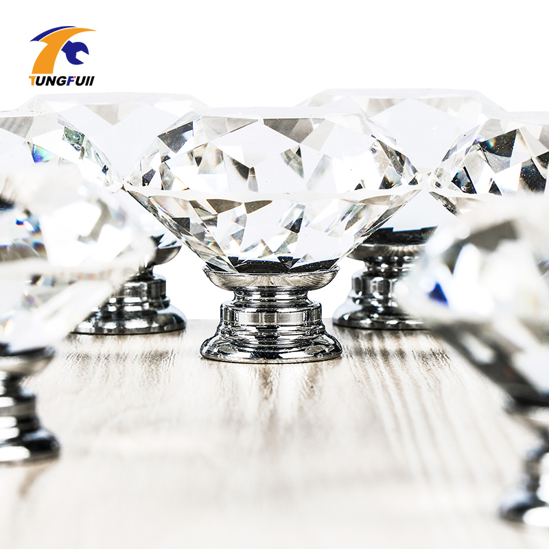 Maçaneta do armário da gaveta do vidro, 1 peça 40mm diamante transparente cristal porta puxar armário maçaneta parafuso em todo o mundo quente