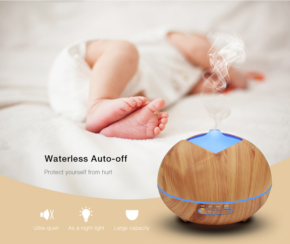 Mini Essential Oil Diffuser Wood Grain Humidifier 450ml LED lights Aromatherapy Ultrasonic Cool Air Humidifier for Home Office brand new portable led lights wood grain expansion machine negative ion oil diffuser humidifier aromatherapy machine for home