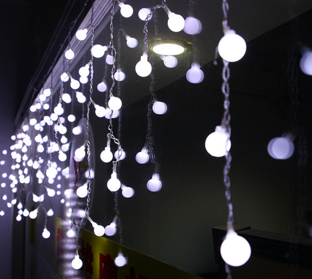 Us 20 07 40 Off Yingtouman Hot Droop Ball String Lights Curtain Garden Lamp Christmas Party Festival Holiday Decorative Lightings 2 1m 104led In