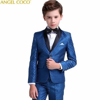 29aafff2a474 Trajes azul marino para niños para bodas brillo Lattices sólido niños traje  de boda traje Formal para niño niños trajes de boda niños blazer
