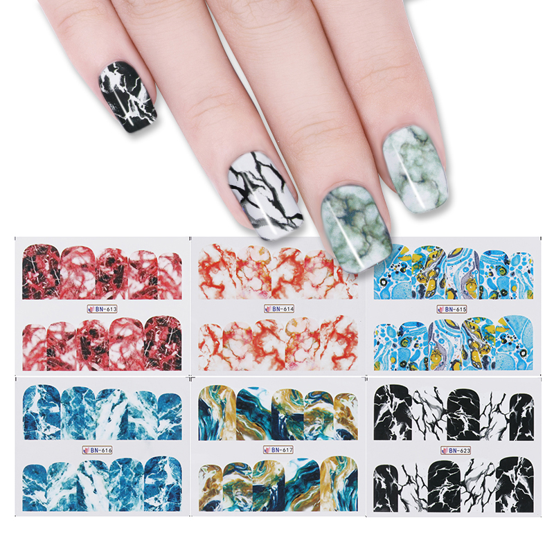 12 Patterns/Sheet Nail Water Decal Marble Grain Nail Art Water Transfer Decal Sticker For Nail Art Tattoo 12 patterns big sheet water decal butterfly manicure nail art transfer sticker a1297 a1308