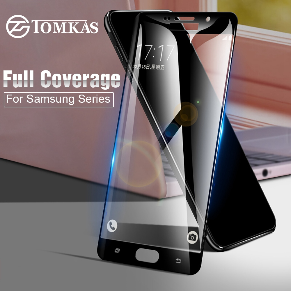 Galleria fotografica TOMKAS Tempered Glass For Samsung Galaxy A5 A3 J3 J5 J7 2017 2016 on Galaxy S6 S7 J2 Prime Screen Protector Case Protective