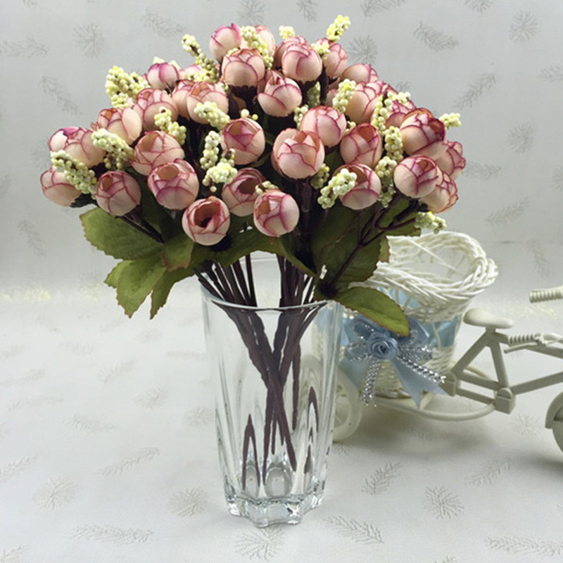 15Heads Mini Silk Peony Artificial Flowers Bride Bouquet For Wedding Home Party Decoration 5