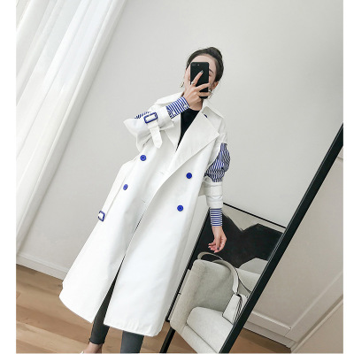 Windbreaker female long   trench   2018 new Korean style striped sleeve patchwork fake two-piece women autumn   trench   coat