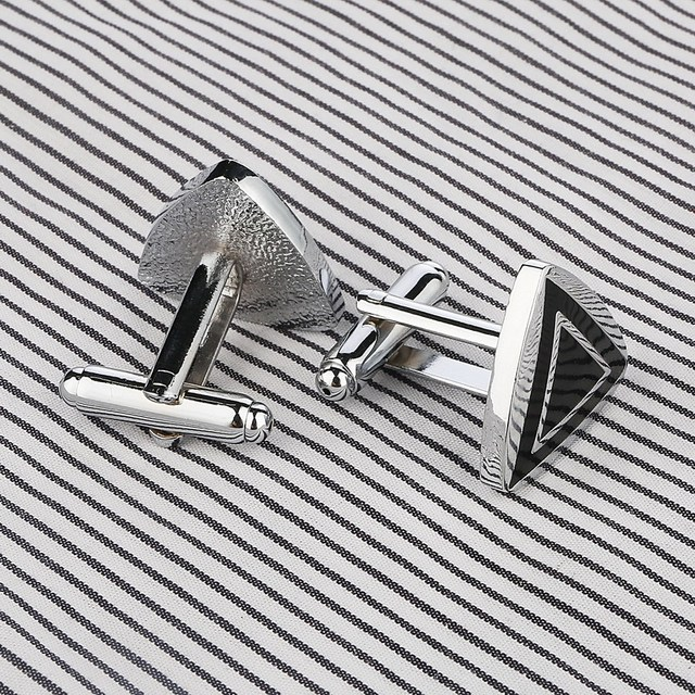 Stainless Steel Silver Triangle Vintage Wedding Gift Grid Laser Cufflinks