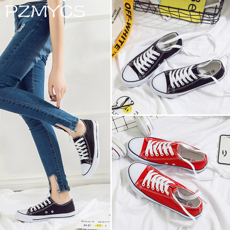 PZMYCS 2018 New women canvas shoes spring summer casual lace-up ladies breathable sneakers fashion flats trainers shoes