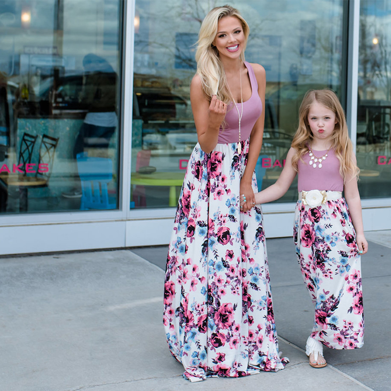 Mother Daughter Dresses Clothes 2019 Summer Sleeveless Floral Long Dress Mom And Daughter Dress Matching Family Outfits Clothes