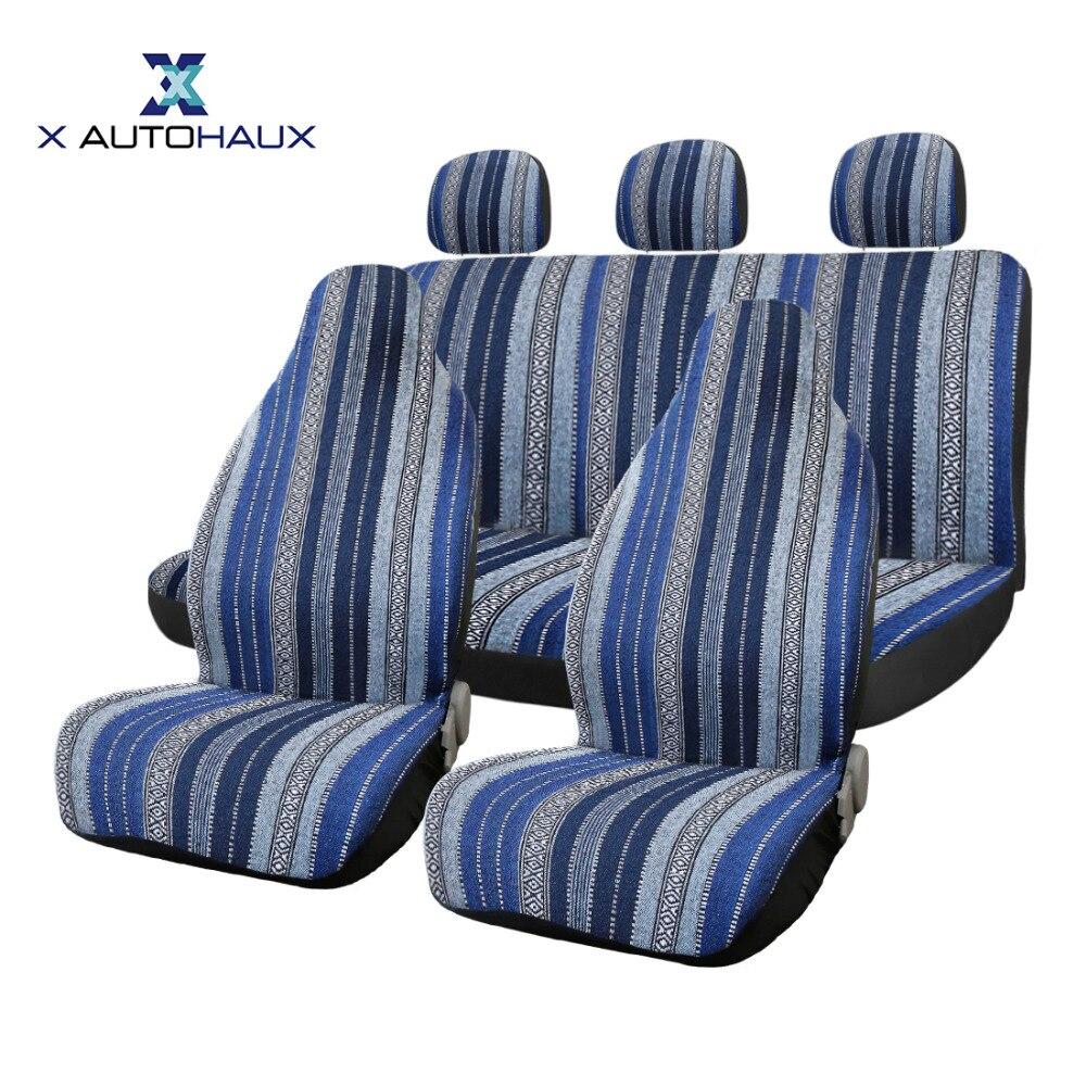 X Autohaux 7pcs set Universal Multicolor Baja Blanket Ethnic Bucket Auto Front Back Seat Cover For