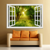 3D Window View Forest Landscape In Four Seasons 3D Wall Sticker Green Golden Tree Removable Wallpaper