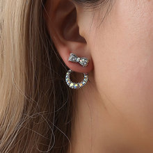 Beautiful Jewelry Earring Double Side Imitation Pearl Bow Crystal Stud Earrings For Women