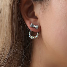 Indah Perhiasan Anting-Anting Double Side Imitasi Mutiara Busur Crystal Stud Earrings untuk Wanita Perhiasan(China)