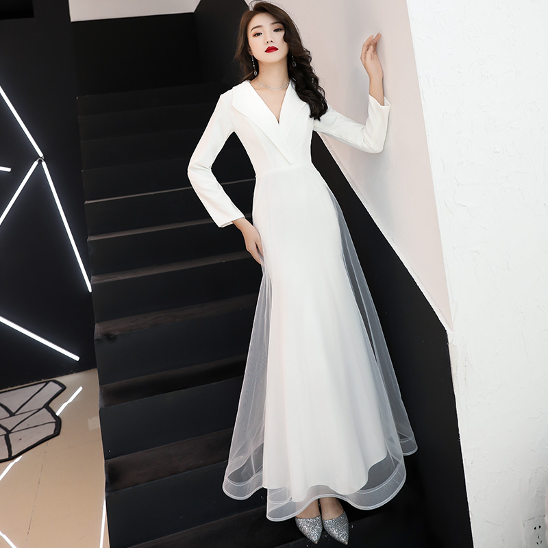 White vestido de festa New Arrival Burgundy Prom   Dress   Appliques Beads Mermaid Long Sleeve   Evening     Dresses   aftenkjole