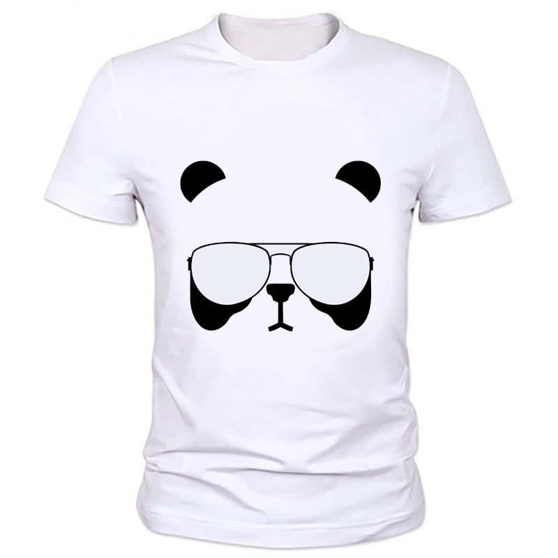 Summer Style Cartoon Panda font b Geeks b font T Shirt Men New Casual Print Slim