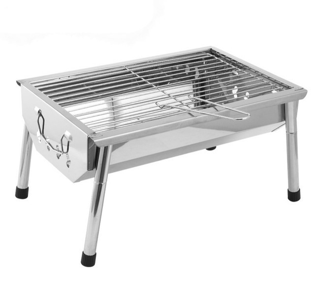 BBQ Outdoor grill home portable charcoal grill thick stainless steel folding grill