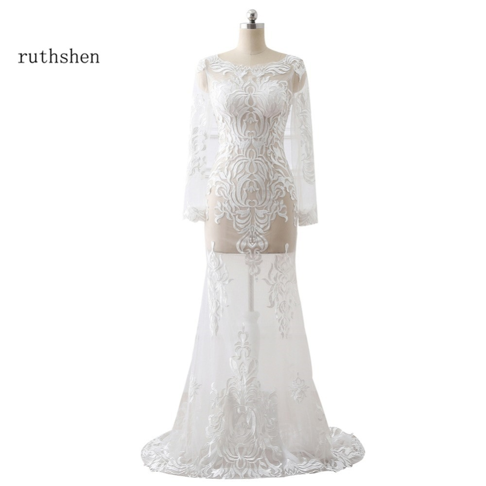 ruthshen Sexy See Through Mermaid Wedding Dresses With Long Sleeves Lace Appliques Vestidos De Novia 2018